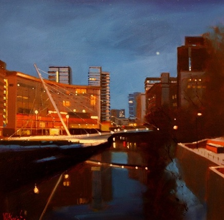 Michael Ashcroft MAFA, Moon Over the Water, Trinity Bridge, Manchester