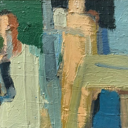 Figures at the Pool (2012), Oil on Board, 20cm x 26cm, £950